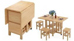 """Стол-книжка с 4 табуретами внутри """"Четверо из ларца"""" - комплект мебели в обеденную зону, массив натуральной сосны."""