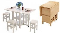 """Стол-книжка с 4 складными  табуретами внутри  """"Белый голубь"""" белая эмаль – обеденная группа трансформер - комплект мебели."""