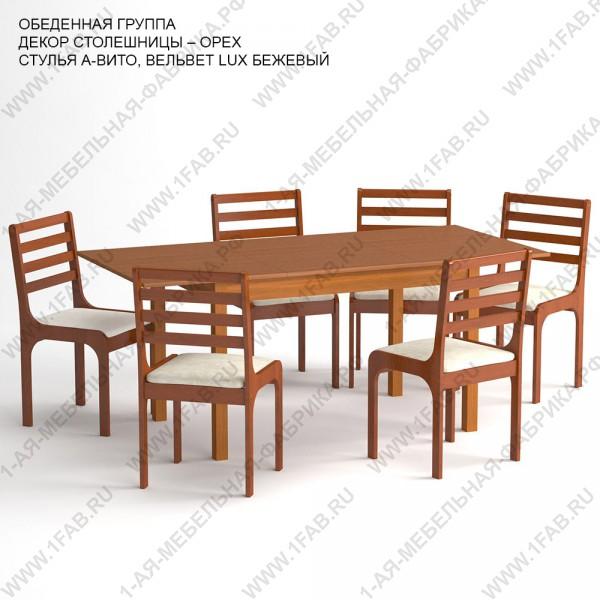 Обеденная группа «Чепецк» цвет «ОРЕХ»: стол прямоугольный, 6 стульев