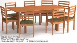 Обеденная группа «Череповец» цвет «ОЛЬХА»: стол прямоугольный, 8 стульев