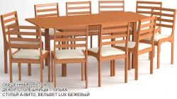 Обеденная группа «Барнаул» цвет «ОЛЬХА»: стол закругленный, 10 стульев