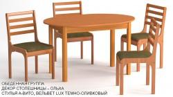 Обеденная группа эконом «Казань» цвет «ОЛЬХА»: стол овальный, 4 стула